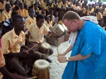 Bernard Woma, guest artist, teaching Dagara music at the Kopeyia School