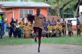 Odartey, Director of KOBLAS Cultural Troupe, dancing Atsiagbekor