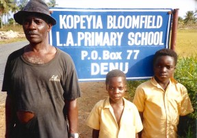 Kwami Bedi, former PTA Chairman, with KOBLAS students
