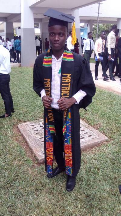 Stephen Gedzah matriculating at Cape Coast University in Ghana, 2018