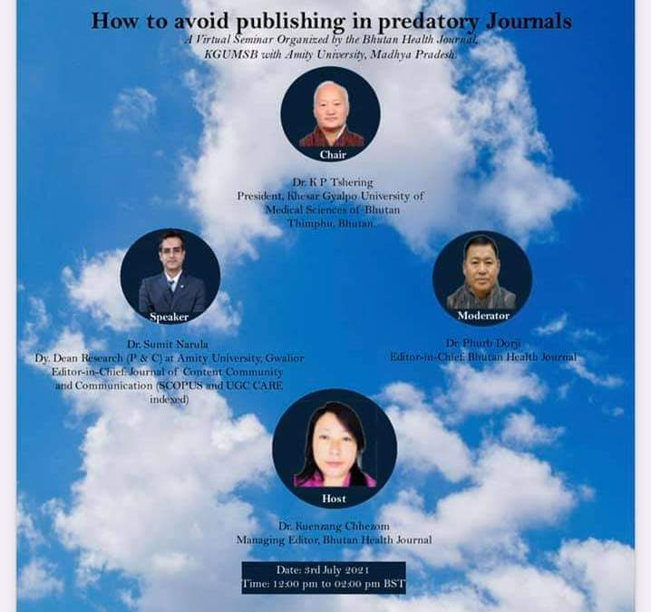 Webinar on How to avoid publishing in predatory Journals and How to write a Scientific Paper and get it Published