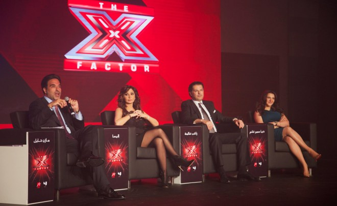 (1) MBC4 & MBC MASR - The X Factor Launch Press Conference- Mazen Hayek & Jury Members Elissa & Ragheb & Donia