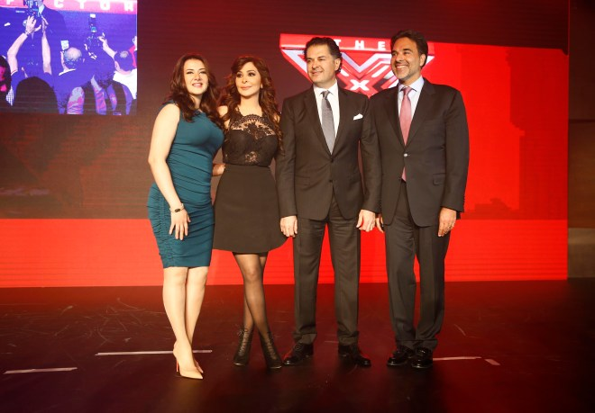 (3) MBC4 & MBC MASR - The X Factor Launch Press Conference- Mazen Hayek & Jury Members Elissa & Ragheb & Donia