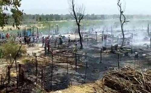 ऊना के घालुवाल में 100 के करीब झुग्गियां जलकर राख, दमकल विभाग ने आग पर पाया काबू