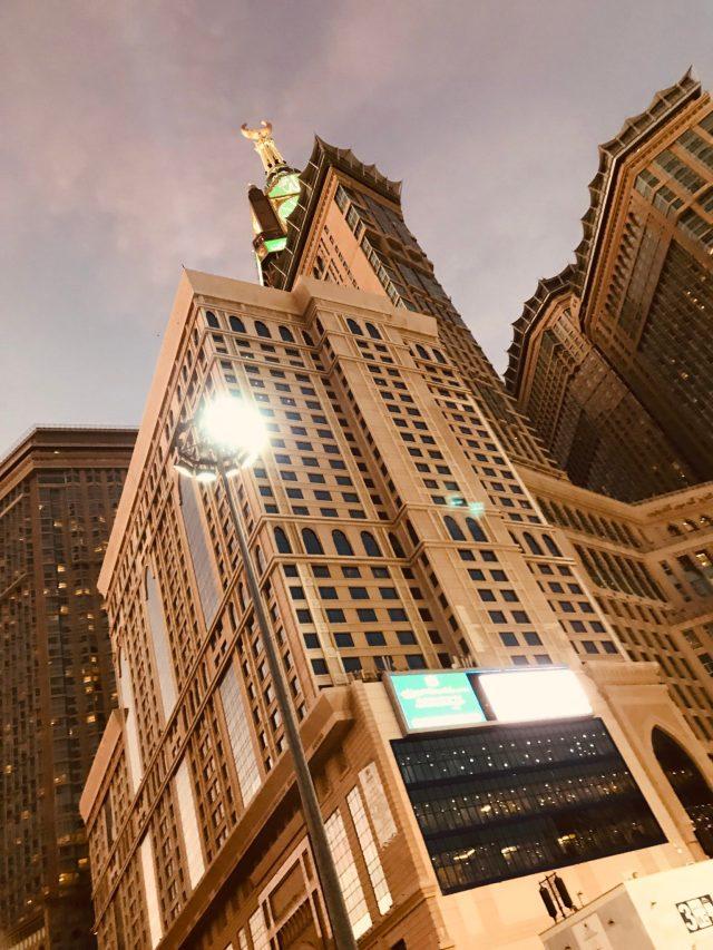 Clock tower in masjid al-haram, makkah, saudi arabia mecca