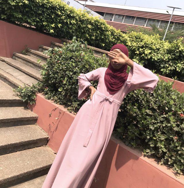 modest muslim fashion maxi dress belt sleeve details custom opera mauve taupe belt blood red premium rayon scarf styling veiled collection blogpost khairahscorner full view