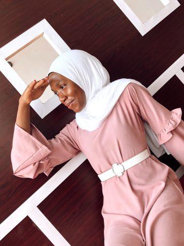modest muslim fashion maxi dress belt sleeve details custom opera mauve taupe white belt white scarf styling veiled collection blogpost khairahscorner (2)