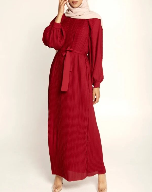 $129 BURGUNDY PLEATED BALLOON SLEEVE MAXI DRESS