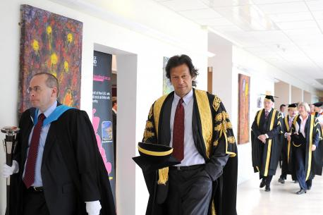 Imran Khan gets Honorary Ph.D Degree from Royal College of Physicians, United Kingdom in 2012 due to his brilliant work against cancer.