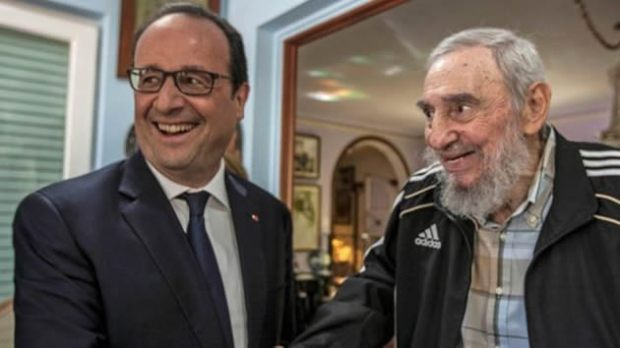 France's Hollande meets Fidel and Raul Castro in Havana