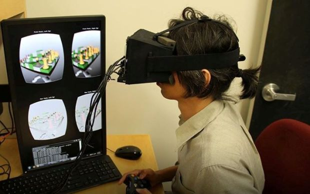 Headset that reduces eye fatigue and nausea