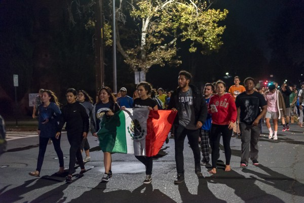 Students protest Donald Trump's presidential victory