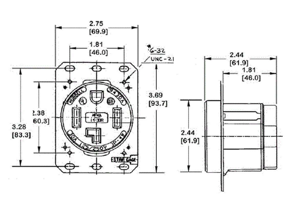 30a 125 250v Locking Plug Wiring Diagram 30A 250V Twist
