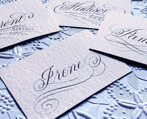 Custom Wedding Calligraphy - Hand Calligraphy Place Cards - Austin Wedding Event Calligraphy - Placecards