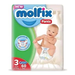 molfix baby diaper pants 3 midi (6-11kg) 60 pcs
