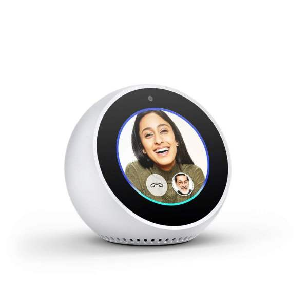 Amazon Echo Spot - Stylish echo with a screen, Make video calls, Voice control your music, news, weather & more - White-5446