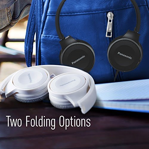 Panasonic On Ear Stereo Headphones RP-HF100-A with Travel-Fold Design, Matte Finish, Blue-5212