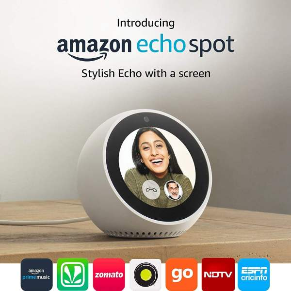Amazon Echo Spot - Stylish echo with a screen, Make video calls, Voice control your music, news, weather & more - White-0
