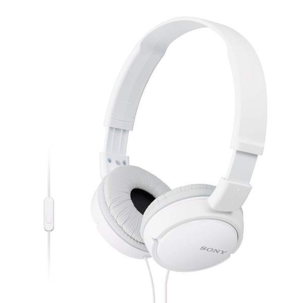 Sony MDR-ZX110AP On-Ear Stereo Headphones with Mic (White)-0
