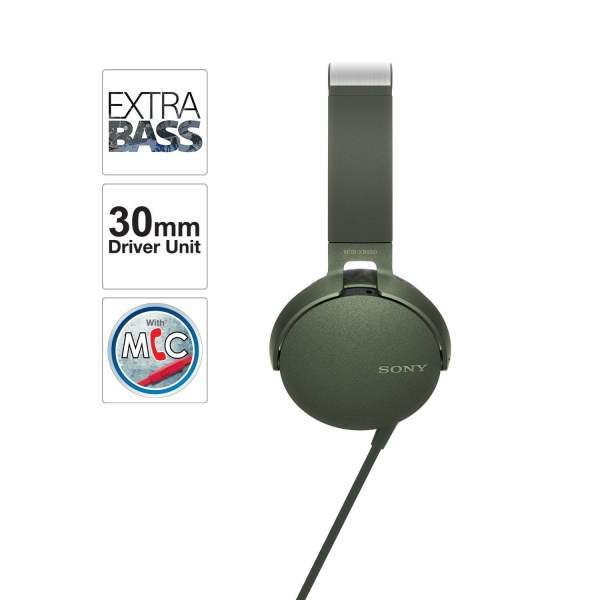 Sony Extra Bass MDR-XB550AP On-Ear Headphones with Mic (Green)-6575