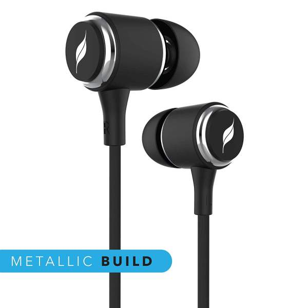Leaf Metal Wired Earphones with Mic and Inline Remote (Carbon Black)-7120