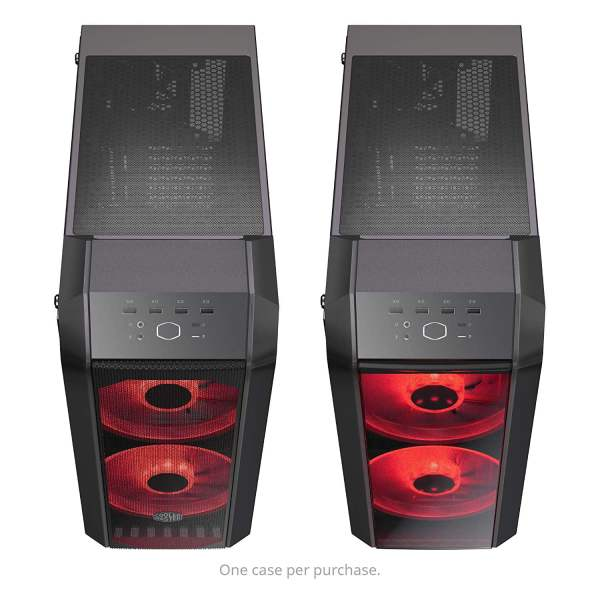 Cooler Master MasterCase H500 ATX Mid-Tower, Tempered Glass Panel, Two 200mm RGB Fans with Controller and Case Handle for Transport Cabinet-8995