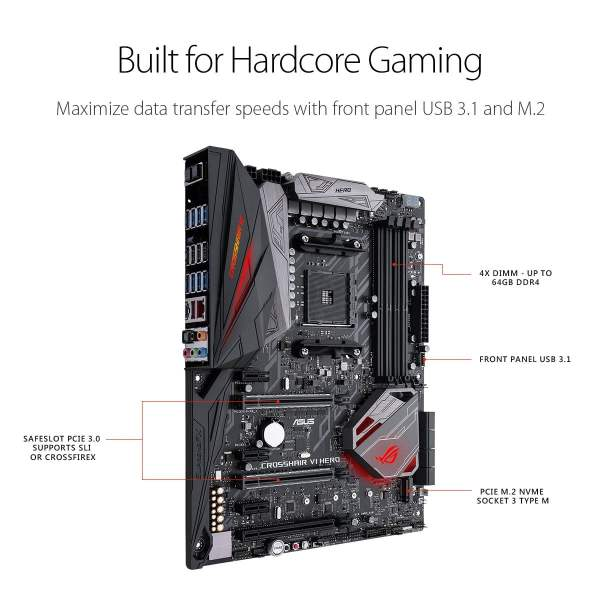 Asus AMD X370 ATX Gaming motherboard with Aura Sync RGB LEDs, DDR4 3200MHz, M.2, USB 3.1 front-panel connector and type-A/C-9412