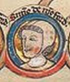 """13th century image of Simon de Montfort """"the younger"""" or Simon VI de Montfort"""