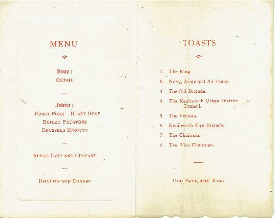 Kenilworth Volunteer Fire Brigade Re-union Dinner of November 1935 page 2