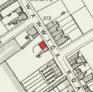 86 Warwick Road, OS 25 inch map of 1892 - 1905