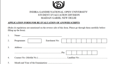 IGNOU Re-evaluation Form Rules and other information