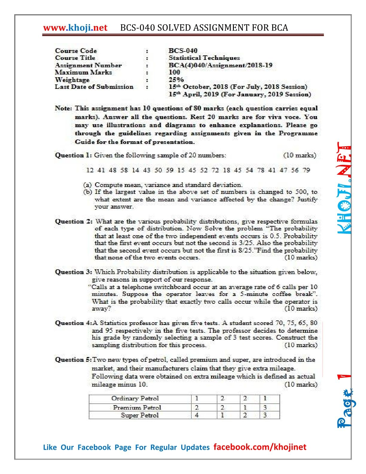 BCS-040 Solved Assignment For IGNOU BCA 2018-2019 in PDF