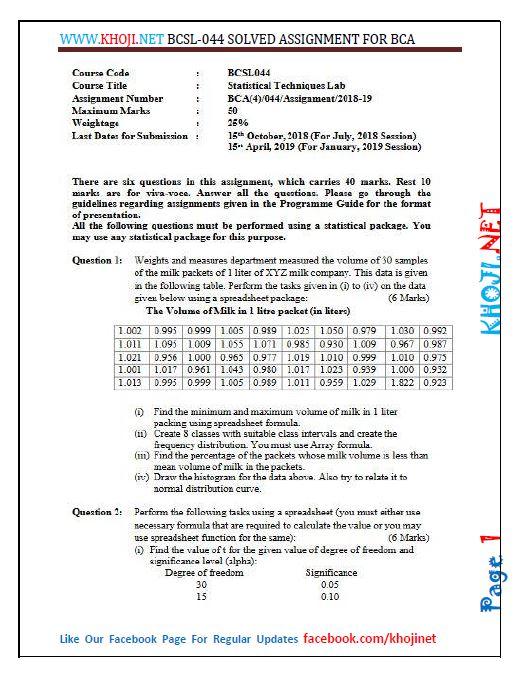 BCSL-044 Solved Assignment 2018-2019 IGNOU BCA PDF Solution