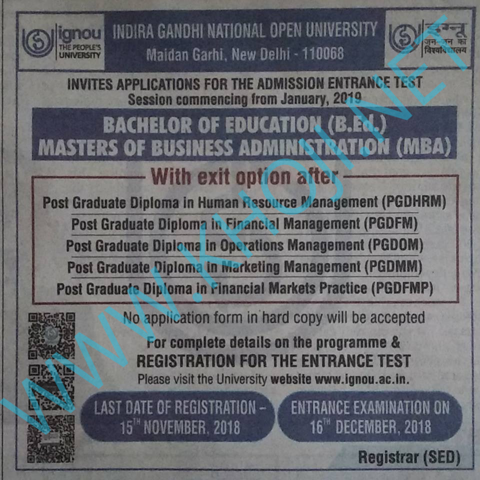 IGNOU MBA B.Ed Admission Notification for January 2019 Session