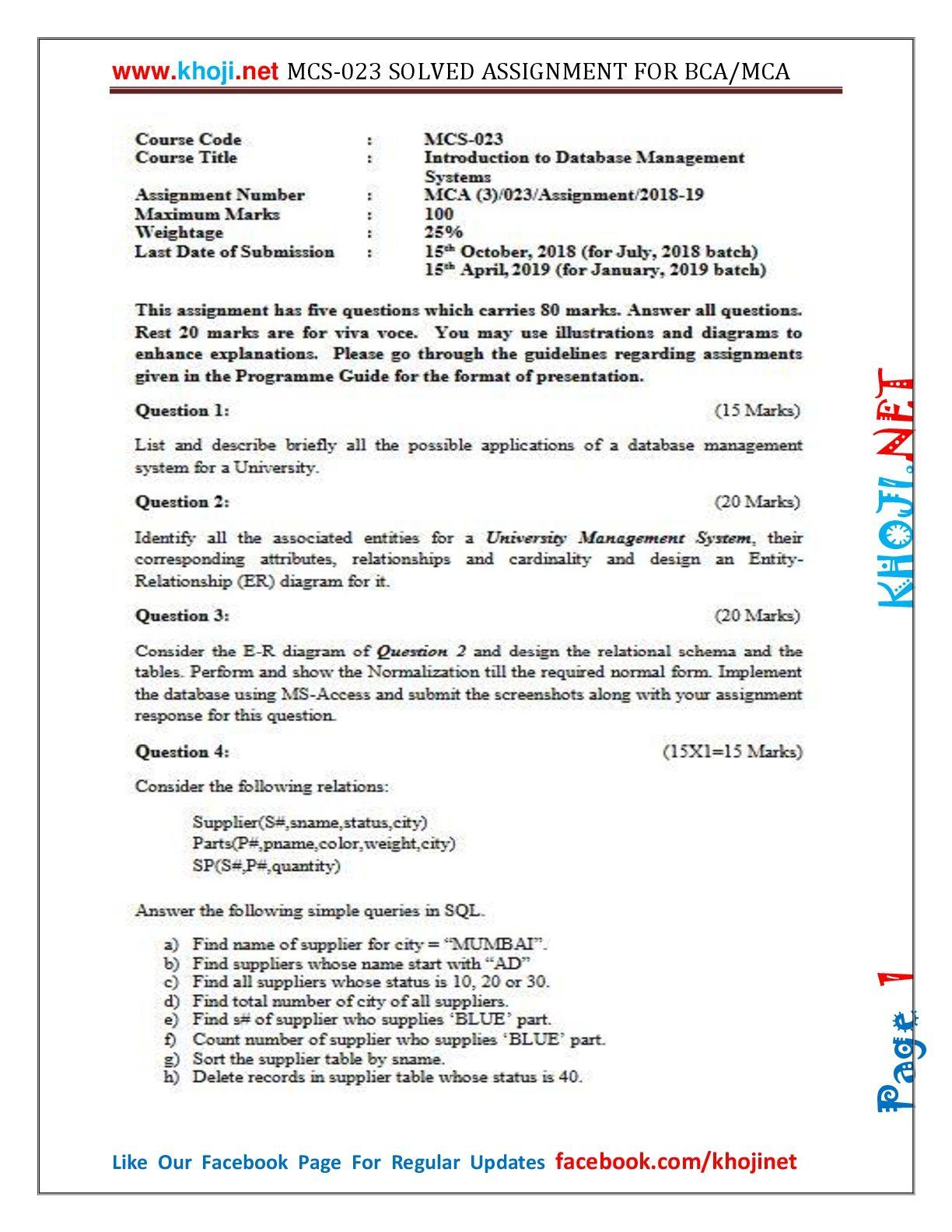 MCS-023 Solved Assignment 2018-19 IGNOU MCA BCA in PDF