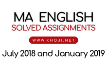 IGNOU MA English Solved Assignments July 2018 and January 2019