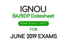IGNOU BA June 2019 Exam Date Sheet