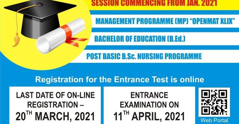 IGNOU B-Ed Admission MP B-Sc Nursing 2021