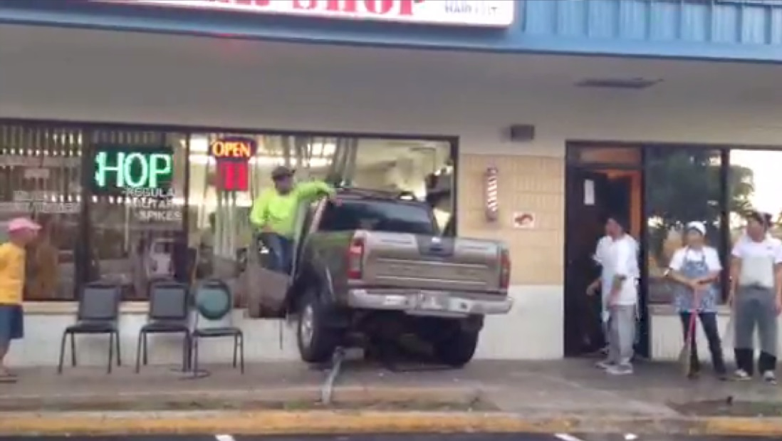 truck into barber shop_77460