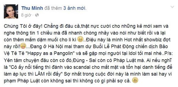 Sau khi bị tố cáo trên Facebook, ca sĩ Thu Minh cũng có đáp trả trên trang cá nhân