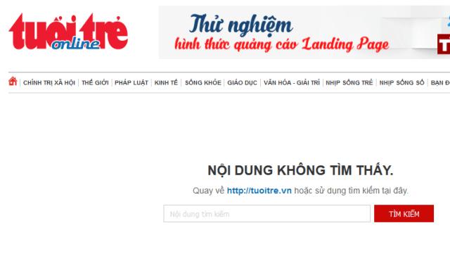 Thông báo không tìm thấy nội dung trên một báo điện tử