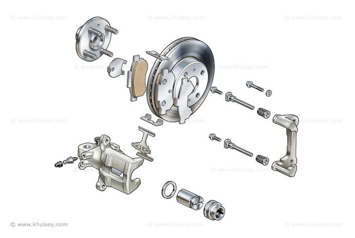 Car brake illustrations.
