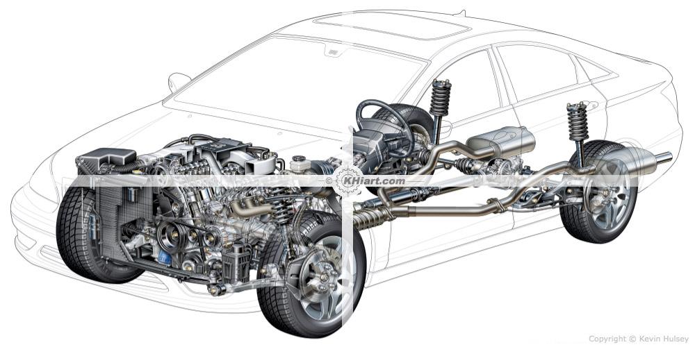 Automotive illustration cutaway of a 2012 generic car.