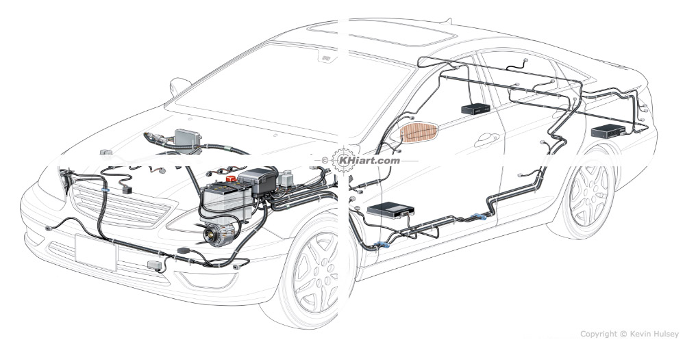 Automotive illustration cutaway of a 2012 generic car.