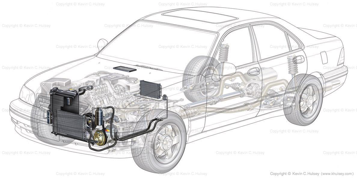 Generic car cutaway sedan.
