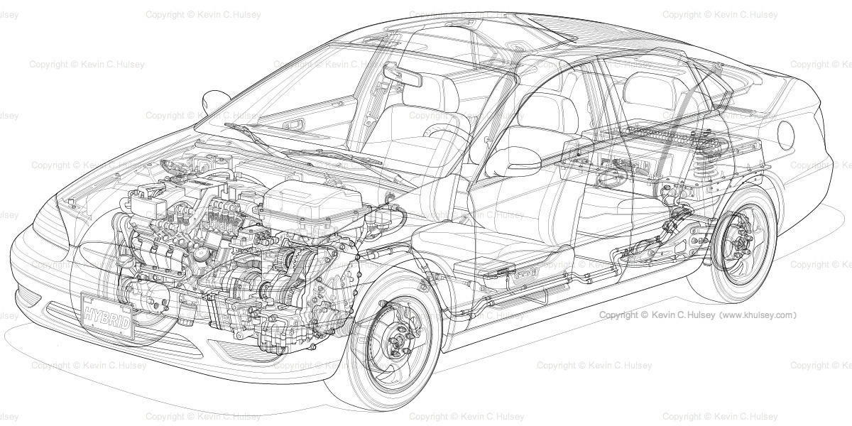 Hybrid vehicle cutaway car stock image.