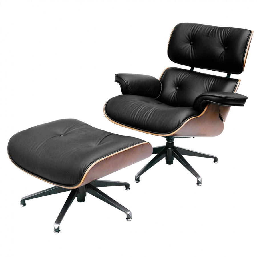 modern leather recliner swivel chair french accent with ottoman eames armchair pr