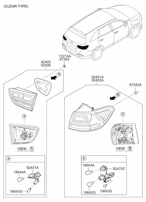 92480C6100 Genuine Kia Rear Combination Holder & Wiring