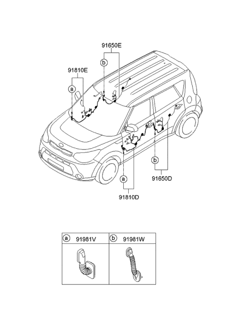 91610B2012 Genuine Kia WIRING ASSEMBLY-FRONT DOOR(PA