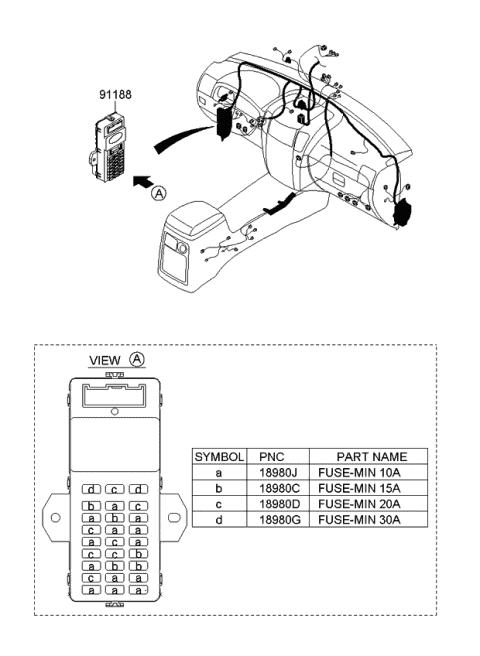 911713E930 Genuine Kia Instrument Panel Junction Box Assembly